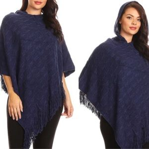 Sweaters - Navy Blue Fringe-Accented Poncho